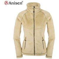 camel super soft long plush fleece fake fur raglan sleeve women camping jacket
