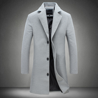 Autumn and winter mens solid color long trench coat black khaki gray blue material coat four colors ss0009