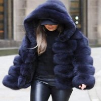 2018 Fashion Faux Fur Hooded Coat Winter Clothing For Women Fake Fox Fur Waistcoat andJacket For Lady XXXL
