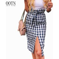 OOTN Female 2020 Summer Zipper Skirt Sexy High Waist Women Blue White Gingham Bow Tie Long Skirts Plaid Midi Slit Pencil Skirts