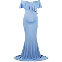 Maternity Long Dress Women Ruffle Stretchy Sleeveless Maxi Dress