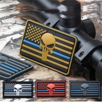 'The Thin Blue Line American Flag Patch Police Law Enforcement Punisher Skull 3d Pvc Morale Patch Military Stock