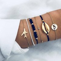 6Pcs/Set Trendy Shell Plane Bracelet Map Bead Chain Bracelet Set for Women Metal Gold Color Charm Bracelet (KB8139)