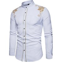 custom new wholesale casual embroidered mens long sleeve dress shirts