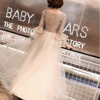 Long sleeve appliques with pearls dinner suit student graduated party dresses girls crystal embellishments casual dr prom dress