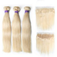 Top Selling 613 Blonde Bundles With Closure Brazilian Blonde Bundles 10-26 Inch 100% Human Remy Hair Extension