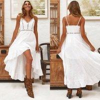 White Linen Lace Maxi Dress Woman Irregular Sexy Dress