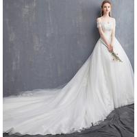 Wholesale off shoulder bridal gown long chapel train wedding dress