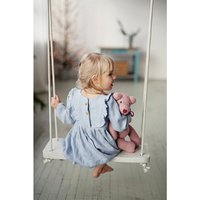 Little Girl Tunic Dress Baby Girls Soft Linen Blue Princess Dress Fashion Bib Ruffle Design Girl Dress