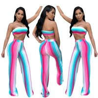 2019 hot sell women clothings summer tie die rainbow stripe crop top two Piece Outfits 2 Piece pants Set