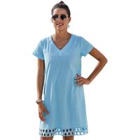 Summer Short Sleeve V Neck A-Line Casual Shirt Dress