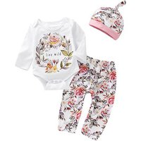 Hot selling newborn baby clothes spring fall long sleeve cotton romper + floral pants + hat 3pcs baby girl clothing set