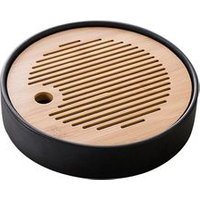 Round Table Chinese Bamboo Tea Serving Tray for Kungfu Tea Set for Tea Time Chinese Style Water Storage Tray(black)