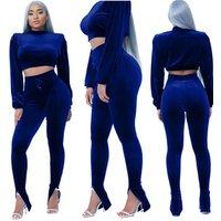 Crop Top Long Pants Velour Women Clothing 2 Piece Set
