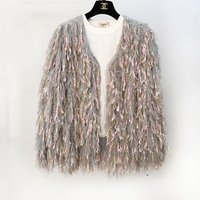 Fashion Nice Colourful Tassels Fringe Shaggy Ladies  Girls  Color Combination Cardigan Sweaters