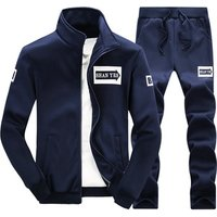Mens sports running suit spring fall Fashionable long sleeve leisure clothes Coat cardigans