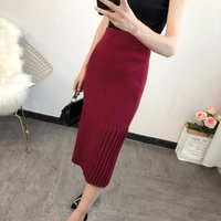 spring autumn fashionable women pencil skirts knitted pleated skirt for winter