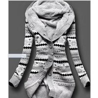 ecowalson Women Plus Size Cashmere Knitted Long Sleeve Jacket Cardigan Hooded Thickening Coat