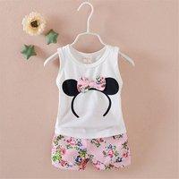 Dropship New Children Kids Girls Clothing Set Mickey Baby Girls Clothes