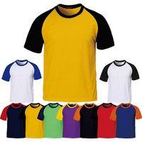 Two Tone Blank Fitted Sport T-shirt 65% Cotton 35% Polyester Raglan Man Baseball T Shirt