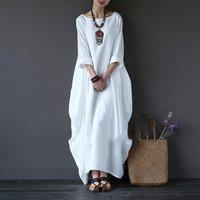 Hot selling Linen fabric muslim women white dress