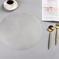 Round Table Placemat Eco-Friendly PVC Silver /Round Placemats