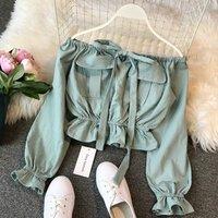 Fashion Ladies Slash Neck Loose Tee Shirts Spring Long Sleeve Soild Sexy Crop Top Korean Women Blouse Harajuku E92120