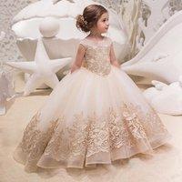 LSW108 2019 Hot Sale Pretty Princess Flower Girl Dress Kids Evening Pageant Gown Communion Dress For Girls