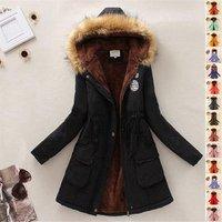 ecowalson s-3xl Hot Parkas Women Fashion Autumn Warm Winter Jackets Fur Collar Long Plus Size Hoodies coat