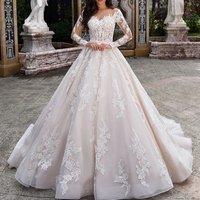 2019 Wedding Dress Long Sleeve  Lace Bridal Dress Wedding Gown
