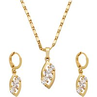 High Quality 18K Gold Plated Crystal Rhinestone Necklace Set For Women