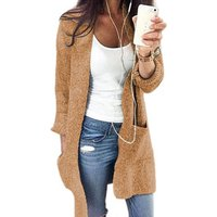 Autumn Winter Fashion Women Long Sleeve Loose Knitting Cardigan Pockets Long  Sweater Women Knitted Female Cardigan Pull Solid
