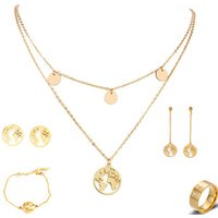 Fashion Wedding Custom Kids Africa Bridal Bracelet Cufflink Earring Ring Stainless Steel Women World Map Necklace Jewelry Set