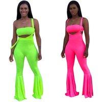 2019 Womens Solid Colour lime neon green Colour Two Piece Bustier With straight strap jumpsuit Belt Set Wide leg pants