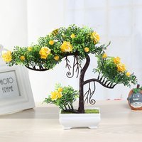Artificial flower bonsai plastic artificial plant artificial rose tree for home office decor