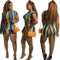 Fashion crop top O-neck short sleeve  stripe print skinny two-piece  short set