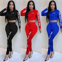 2 piece women long sleeve crop top and pant sets luxury letter print clothing sets