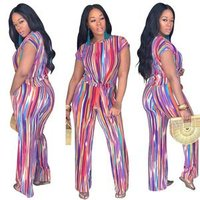 2019 womens fashion colorful print casual short sleeve crop top and pants two-piece set SY8326