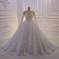 New Design Lace Ball Gown Long Sleeve Wedding Dress Amanda Noivas Bridal Gown 2019