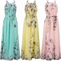 Wholesale Summer Women Beach Dress Chiffon Floral Printed Halter Tunic Sleeveless Long Maxi Party Boho Dresses
