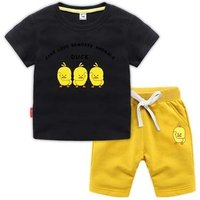 Shaking network red baby small yellow duck clothes suit yellow duckling kids summer clothing T-shirt short-sleeved shorts suit