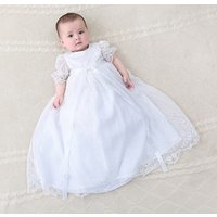 Nimble Cheap 2pcs/Set 100% Polyester Girl Baptism Gown Lace Christening Dress White New Born Baby Girl Baptism Dress
