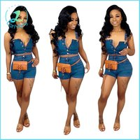 summer hot style blue denim tops and mini shorts suit women jeans clothing