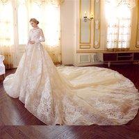 Newest princess 2019 luxury great lace wedding dress ball gown merdian dress