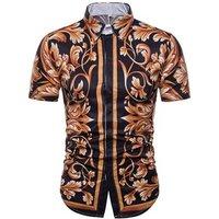 custom fashion 3d printing mens short sleeve dress silk shirts
