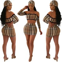 S3010 women sexy plaid crop top and mini skirt two piece set