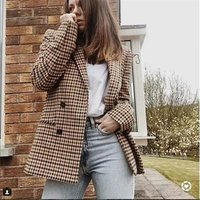 British formal casual office Custom Suit Jacket Women Double Breasted Suit Plaid Coat check blazer Women tops