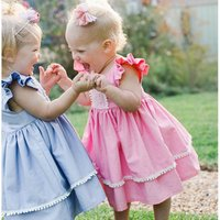 cotton baby girl dress with flutter sleeve lace decor girls dress for summer girls birthday dresses