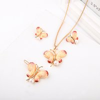 xl01654d New Arrival Pearl Jewelry Designs Lovely Girl School Days Handmade Flower Enamel Butterfly Necklace Set