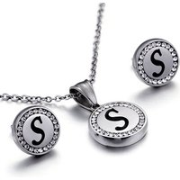 crystal stainless steel letter jewelry set alphabet necklace earring set jewellery no allerge no fade joias jewelry